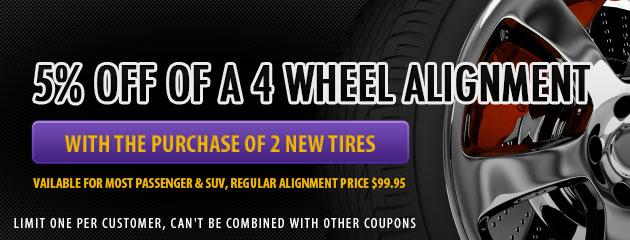 5% Off 4 Wheel Alignment