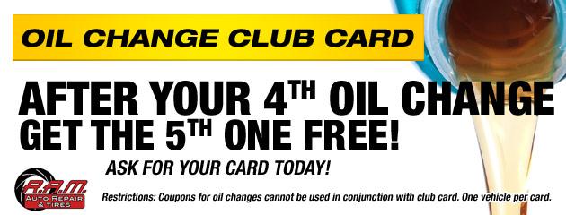 OIl Change Club Card