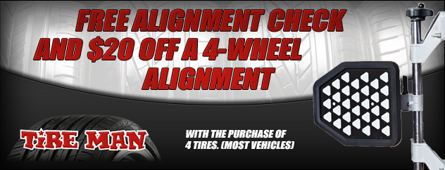 Free alignment check and $20 off a 4-wheel alignment