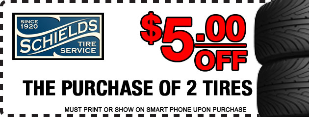 $5 off 2 tires deal