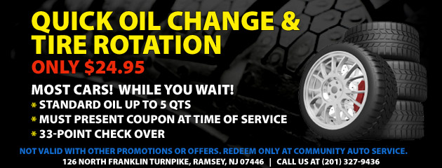 $24.95 Quick Oil Change and Rotation