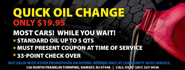 $19.95 Quick Oil Change