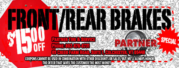 $15 off Front and/or Rear Brake Service