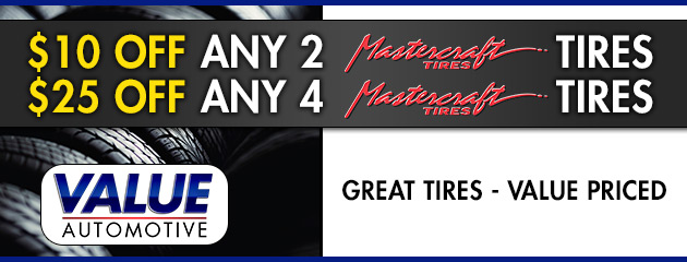 $10 Off 2 or $25 Off 4 Mastercraft Tires
