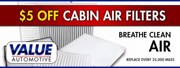 $5 Off Cabin Air Filters