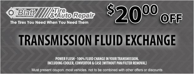 Transmission Fluid Exchange - $20 off