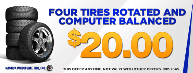 $20.00 - Four tires rotated and computer balanced