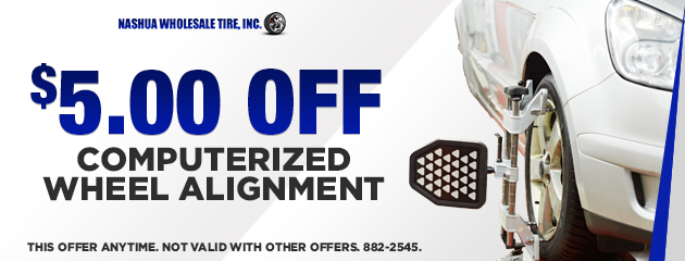 $5 off computerized wheel alignment