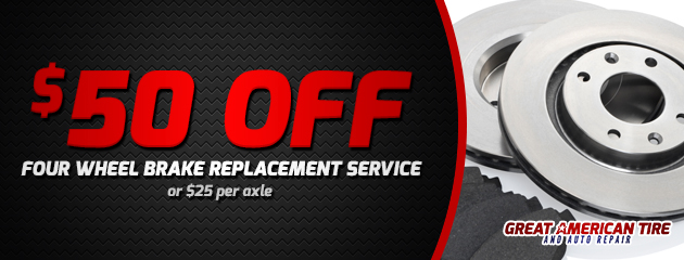 $50 off four wheel brake replacement service
