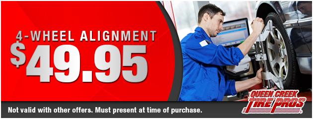 4-wheel alignment: $49.95