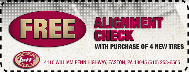 Free alignment check with the purchase of 4 tires.