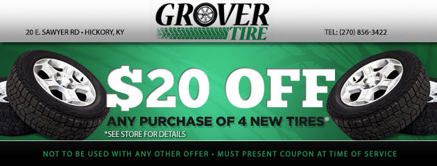 $20 off 4 New tires