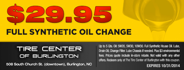$29.95 Synthetic Oil Change