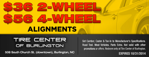 $36 for 2 Wheel, $56 for 4 Wheel Alignments