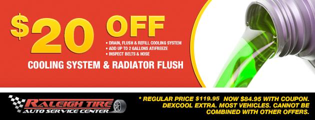 $20 off Coolant/Radiator Flush