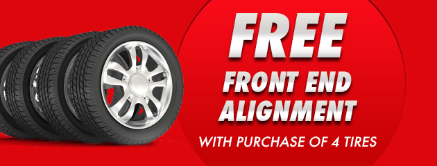 Free Fornt end Alignment WIth Purchase of 4 Tires