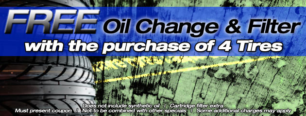 Free Oil change & filter with purchase of 4 tires