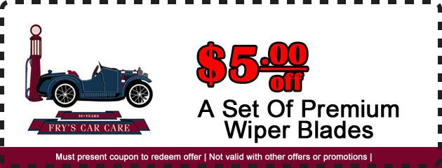 $5 off Premium Wiper Blades