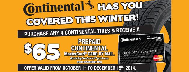 Continental $65 Rebate Canada