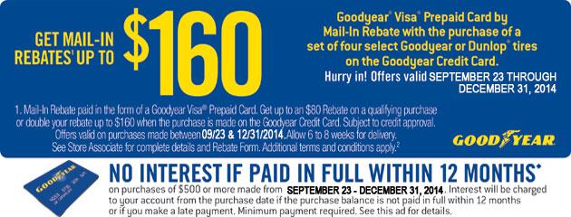 Goodyear up to $160 Rebate