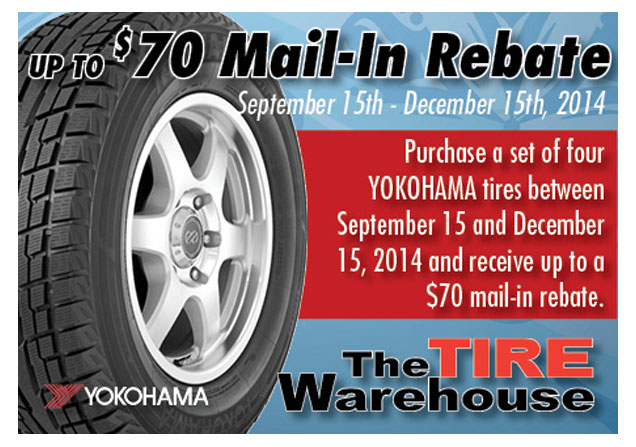 Yokohama up to $70 Rebate TW