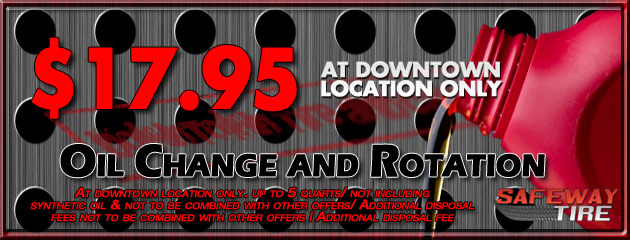 Downtown Location - Oil Change and Rotation for $16.95