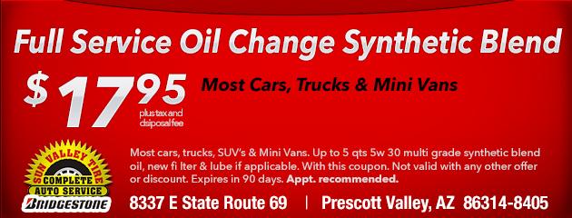 Basic Service Oil Change Synthetic Blend