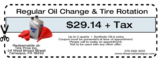Reg Oil Change & Tire Rotation $29.14 + Tax