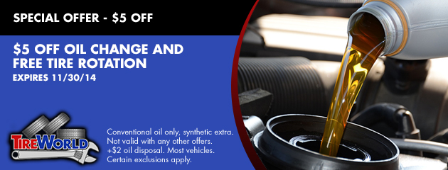 $5 OFF Oil Change and FREE Tire Rotation