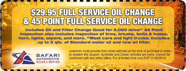 $29.95 Full Service Oil Change