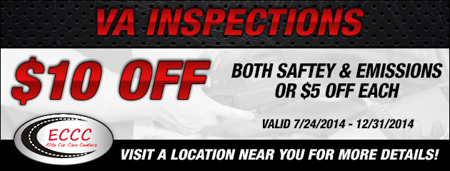 VA Inspections $10 Off both Safety and Emissions (or $5 Off each)
