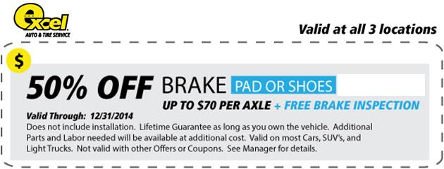 50% Off Brake Service