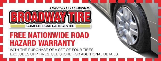 Free nationwide Road Hazard Warranty