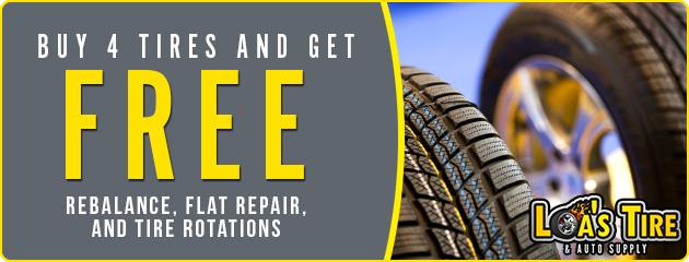 Buy 4 Tires, get free rebalance, flat repair, and tire rotations