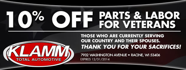 10% off parts and labor for Veterans