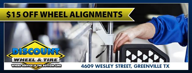 $15 OFF wheel Alignment