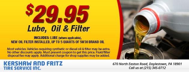 Lube, Oil & Filter $29.95