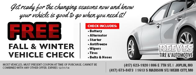 FREE Fall/Winter Vehicle Check