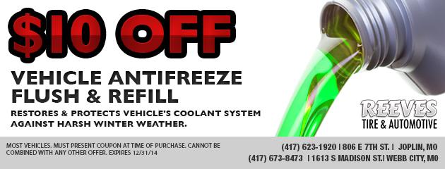 $10 Off Vehicle Antifreeze Flush & Refill