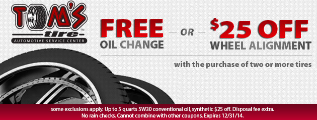 Free Oil Change OR $25 Off Alignment with Tire Purchase