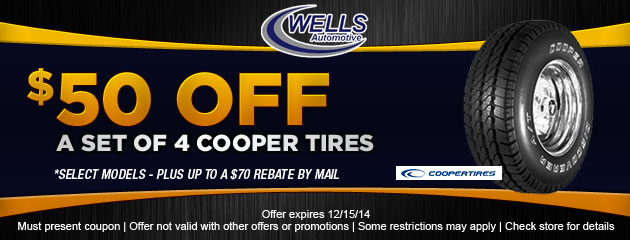 $50 OFF set of 4 Cooper Tires